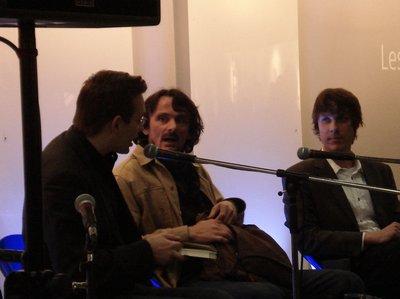 Clemens Meyer, Edo Popovic und Sebastian Wolter auf der Bühne der Leseinsel Junge Verlage